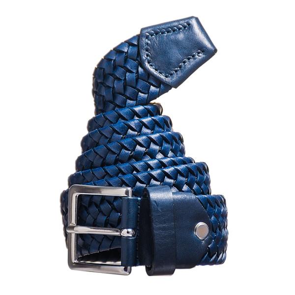 cintura uomo in pelle elastica blu