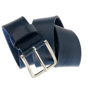 cintura in pelle color blu